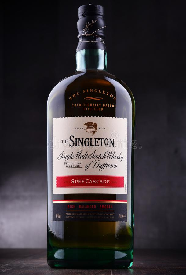 Bouteille de singleton de Dufftown, whisky écossais de malt simple photographie stock