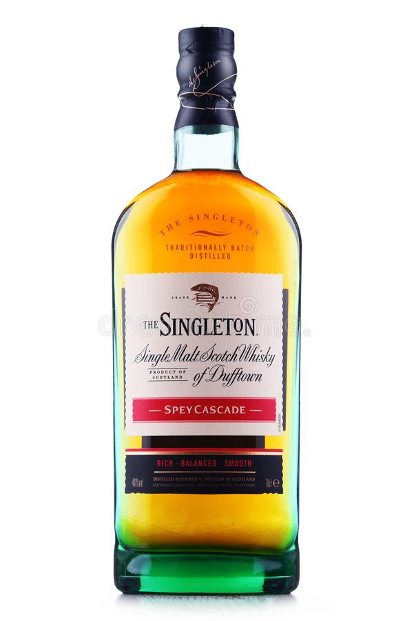 Bouteille de singleton de Dufftown, whisky écossais de malt simple photos stock