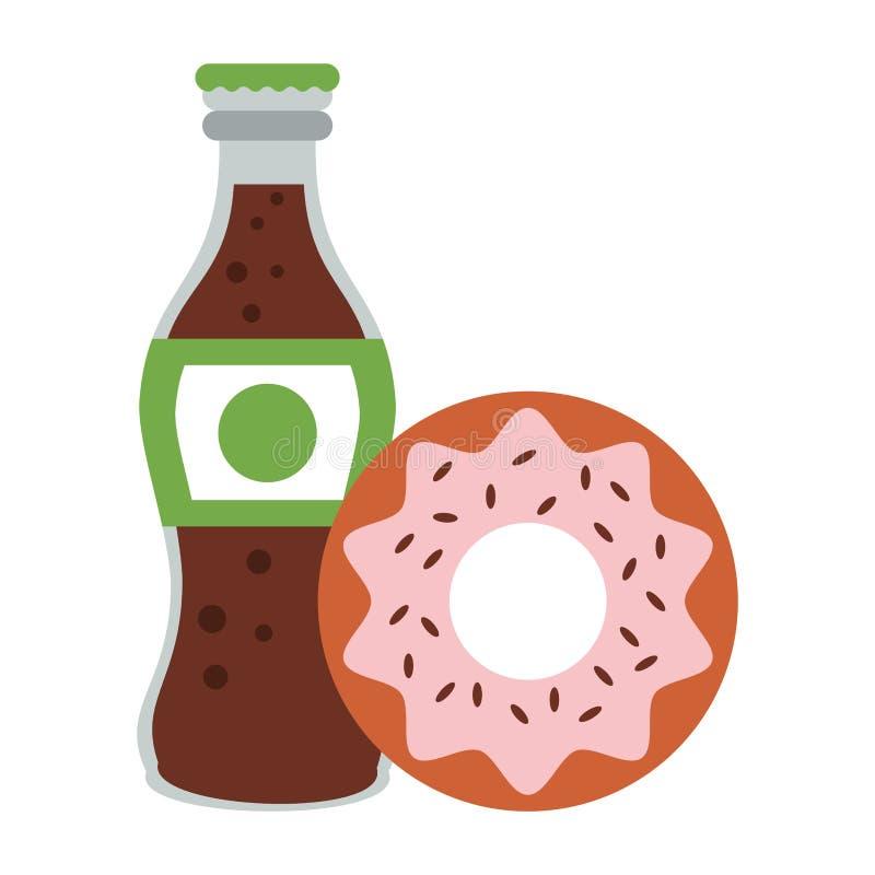 Bouteille de soude de beignet et de kola de nourriture d'isolement illustration de vecteur