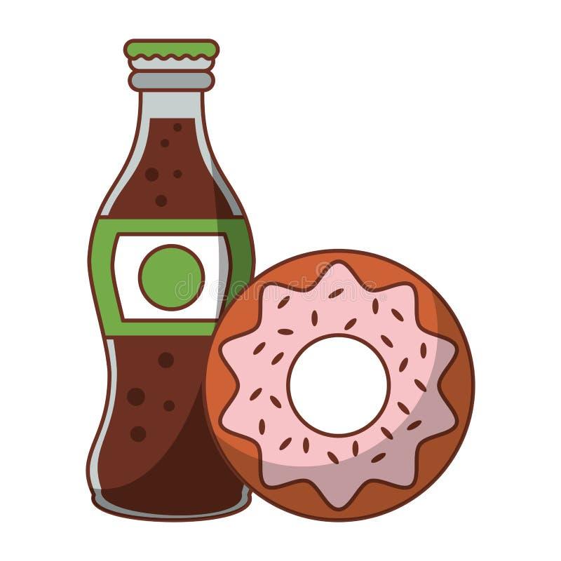 Bouteille de soude de beignet et de kola de nourriture d'isolement illustration libre de droits