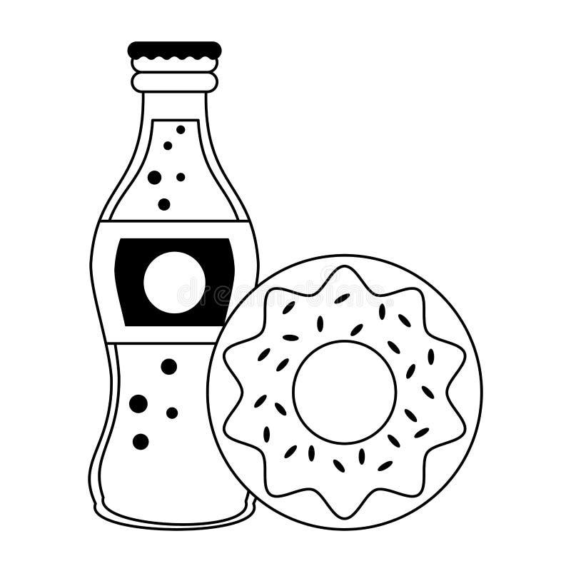 Bouteille de soude de beignet et de kola de nourriture d'isolement en noir et blanc illustration libre de droits