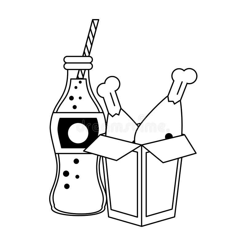 Bouteille de soude frite par poulet de boîte et de kola à nourriture en noir et blanc illustration libre de droits