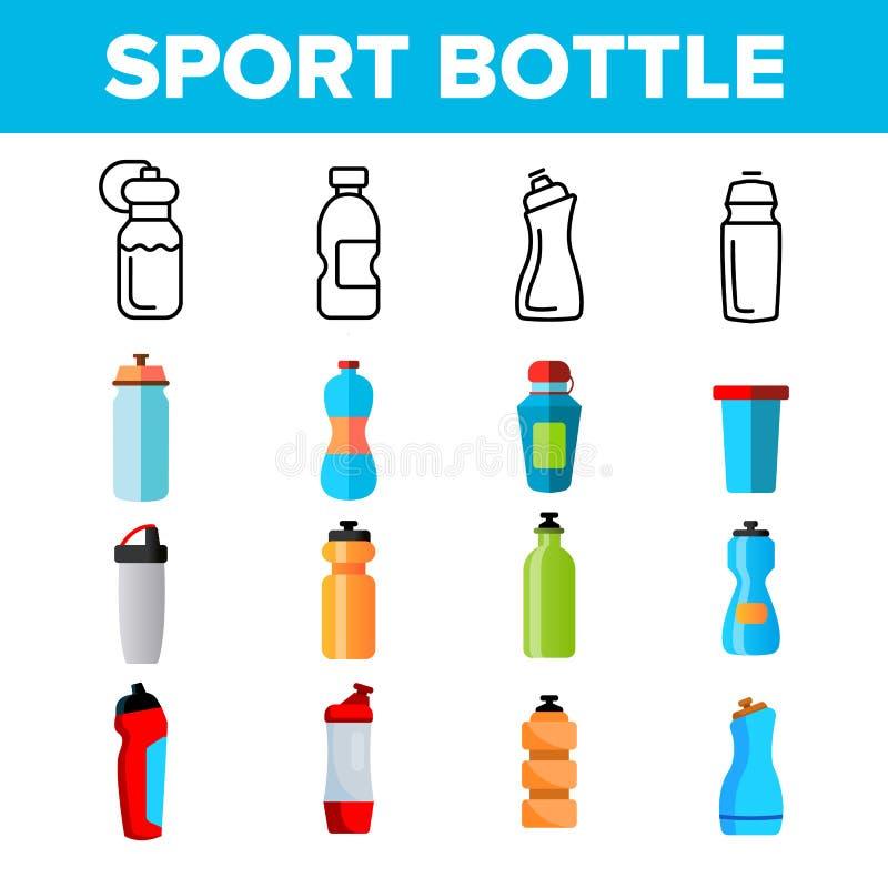 Bouteille de sport, ligne mince ensemble de vecteur accessoire de forme physique d'icônes illustration stock