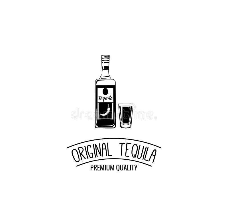 Bouteille de tequila avec des icônes de verre à liqueur Conception de menu d'alcool Illustration de vecteur illustration libre de droits