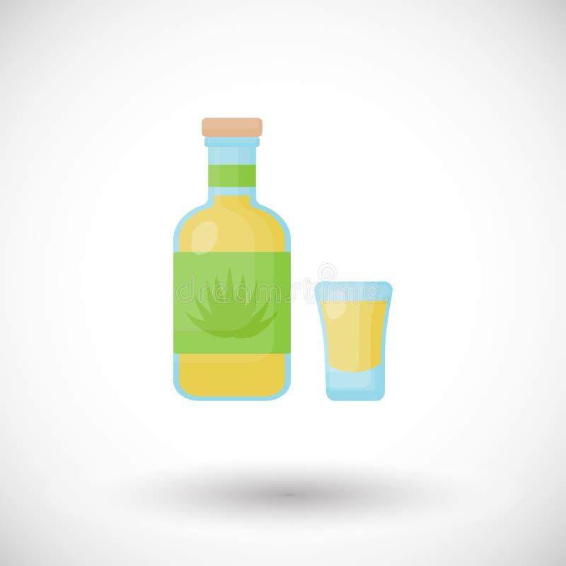 Bouteille de tequila et icône plate tirée de vecteur illustration stock