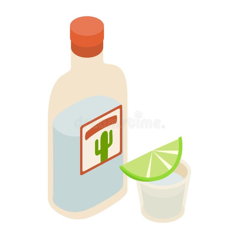 Bouteille de tequila et tiré avec l'icône de chaux illustration de vecteur