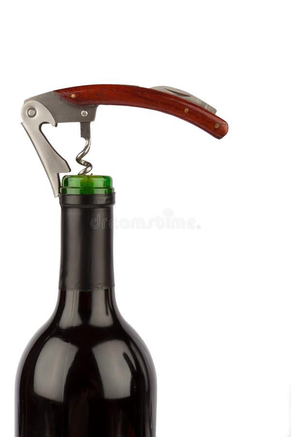 Bouteille de tire-bouchon et de vin photo libre de droits