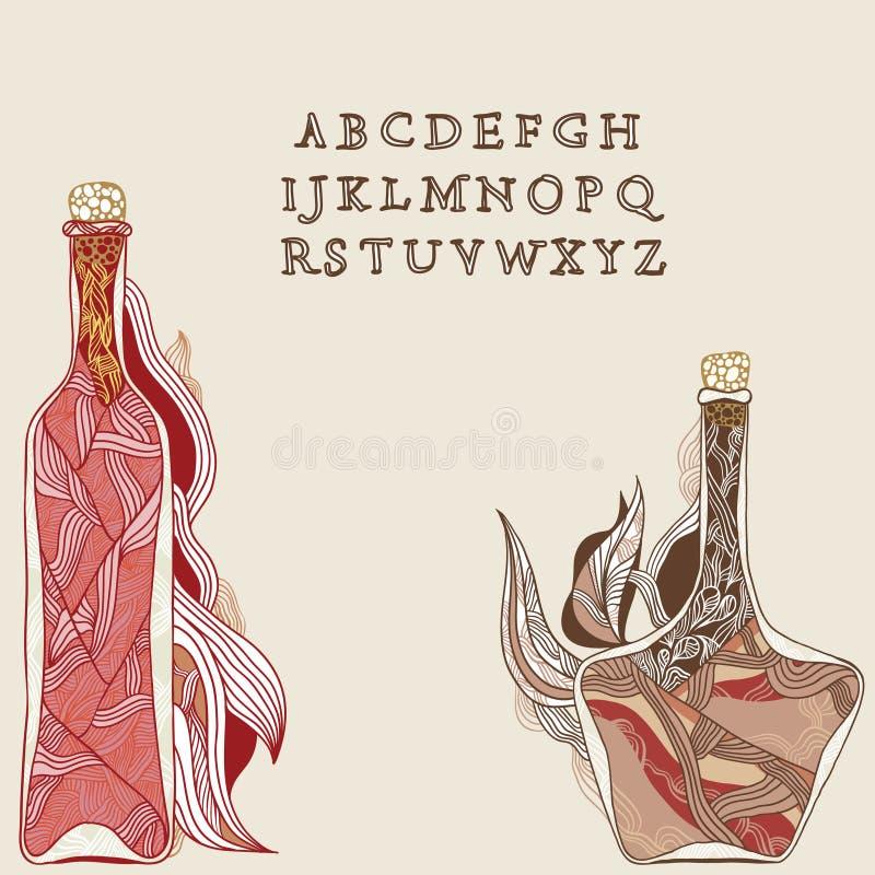 Bouteille de vigne magique illustration libre de droits