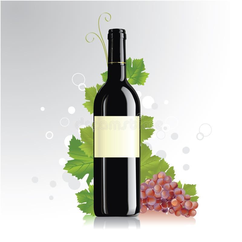 Bouteille de vin avec l'étiquette blanc illustration stock