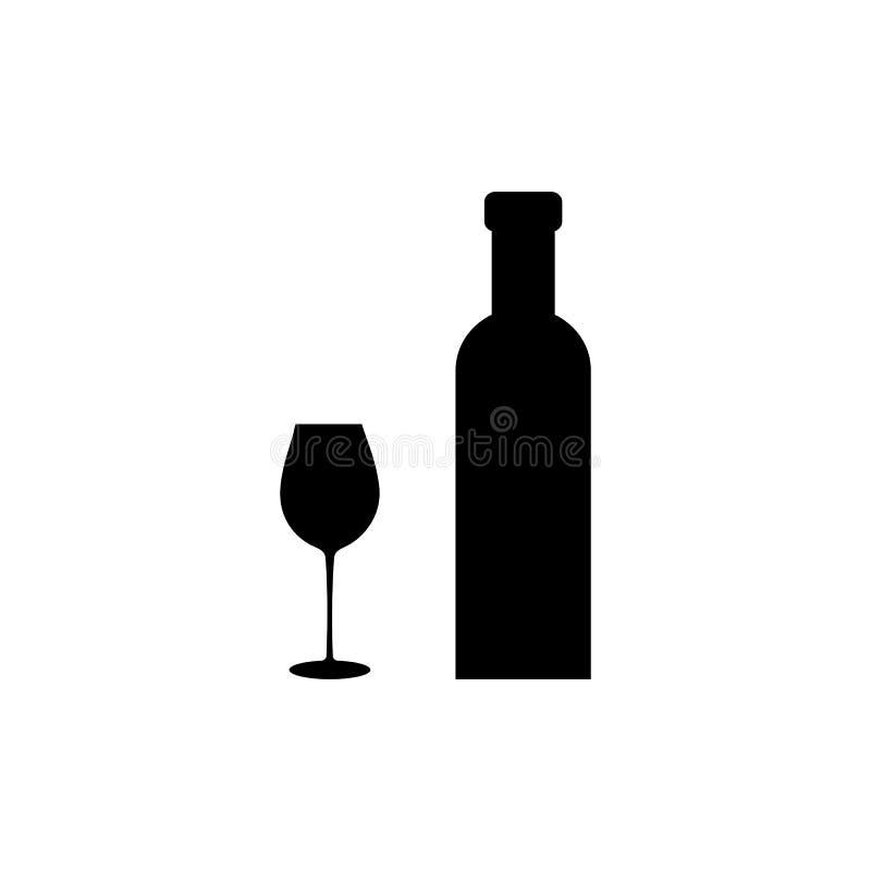 Bouteille de vin avec l'icône en verre de vin d'isolement sur le fond blanc Illustration de vecteur illustration libre de droits