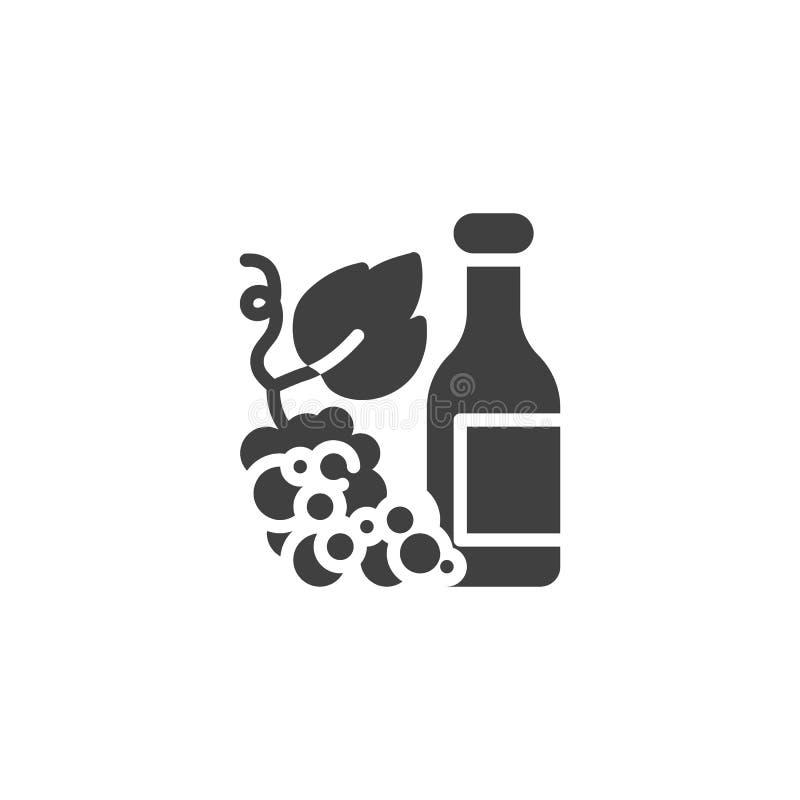 Bouteille de vin avec l'icône de vecteur de raisins illustration stock