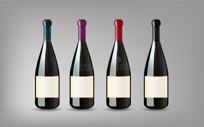 Bouteille de vin avec sur le fond gris d'isolement Préparez pour votre DES illustration stock