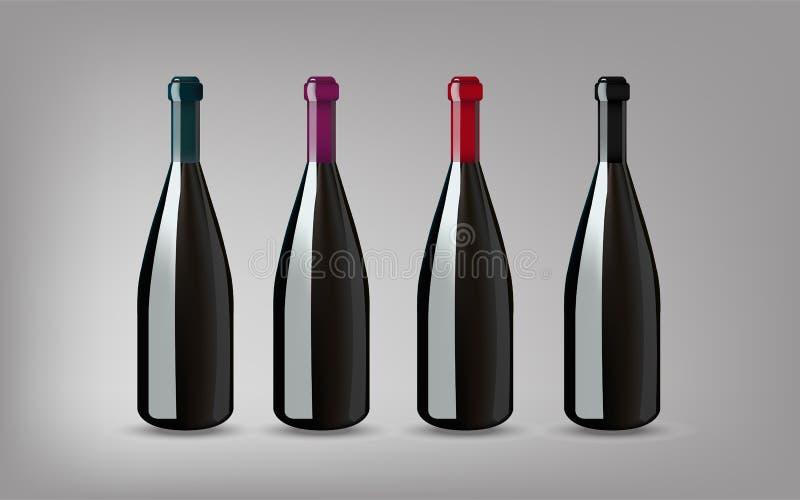 Bouteille de vin avec sur le fond gris d'isolement Préparez pour votre DES illustration libre de droits