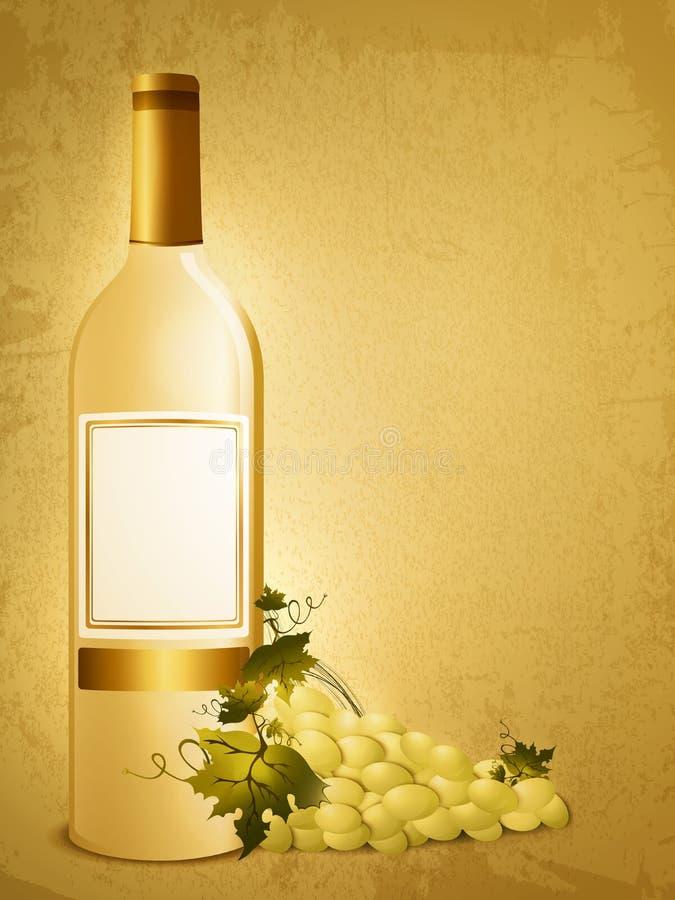 Bouteille de vin blanc avec du raisin illustration de vecteur