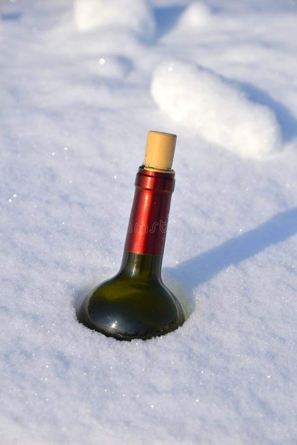 Bouteille de vin dans la neige photographie stock libre de droits