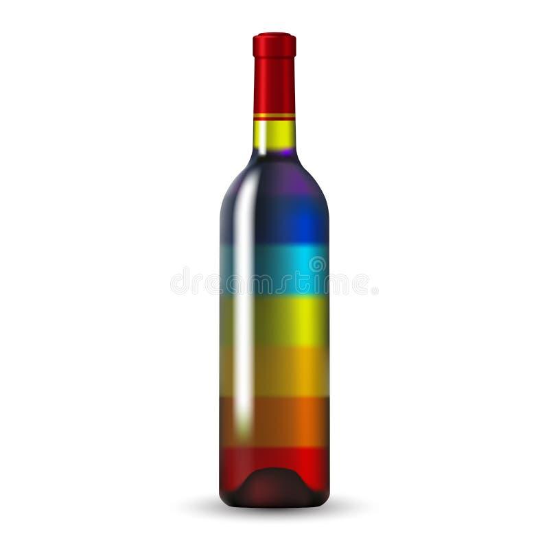 Bouteille de vin en verre de couleur illustration de vecteur