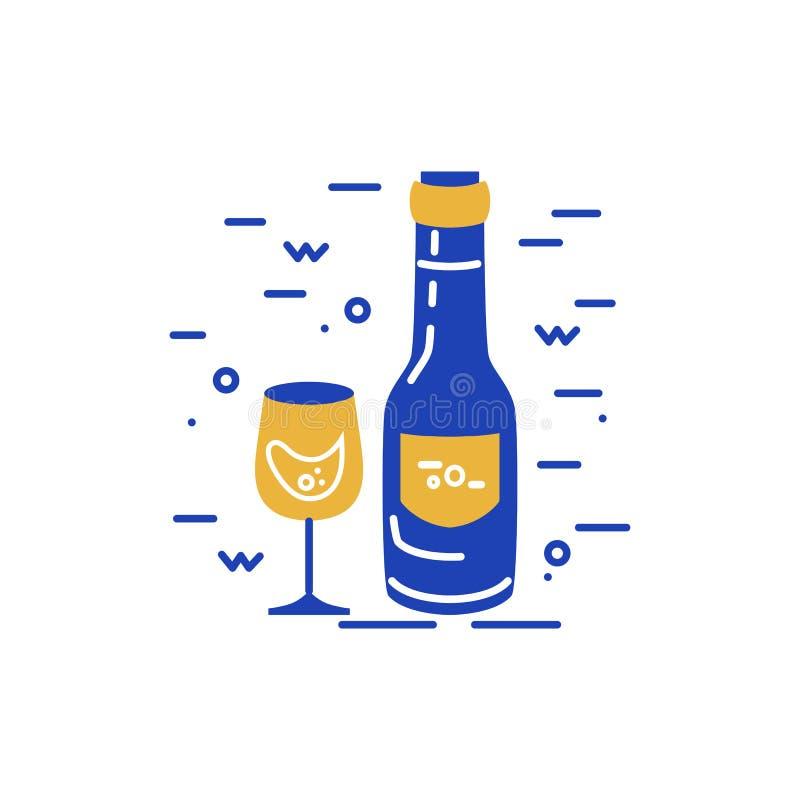 Bouteille de vin et conception en verre de logo illustration libre de droits