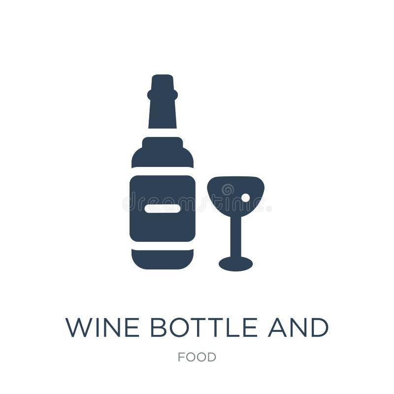 bouteille de vin et icône en verre dans le style à la mode de conception bouteille de vin et icône en verre d'isolement sur le fo illustration de vecteur