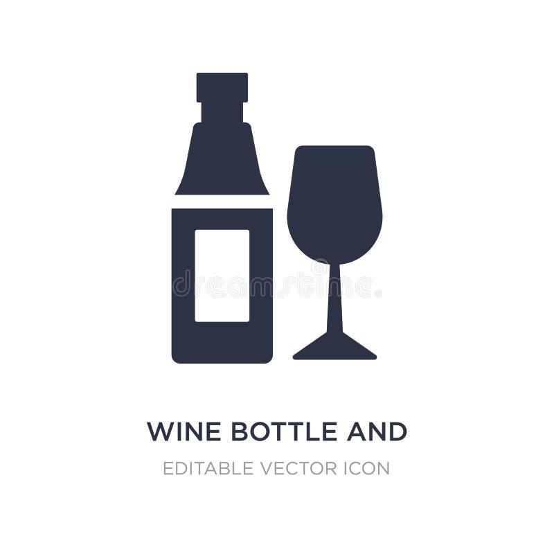 bouteille de vin et icône en verre sur le fond blanc Illustration simple d'élément de concept de nourriture illustration libre de droits