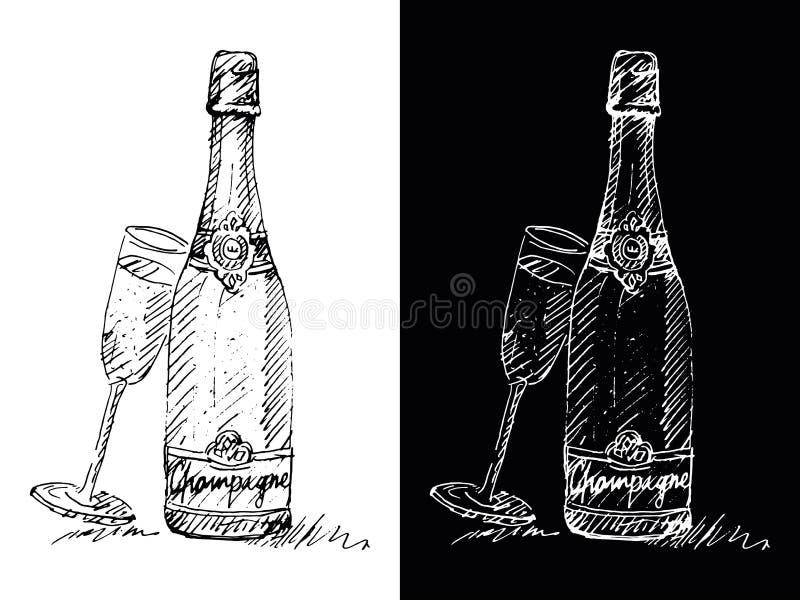 Bouteille de vin mousseux - remettez le dessin, vecteur, spontané, énergie, expression photographie stock libre de droits