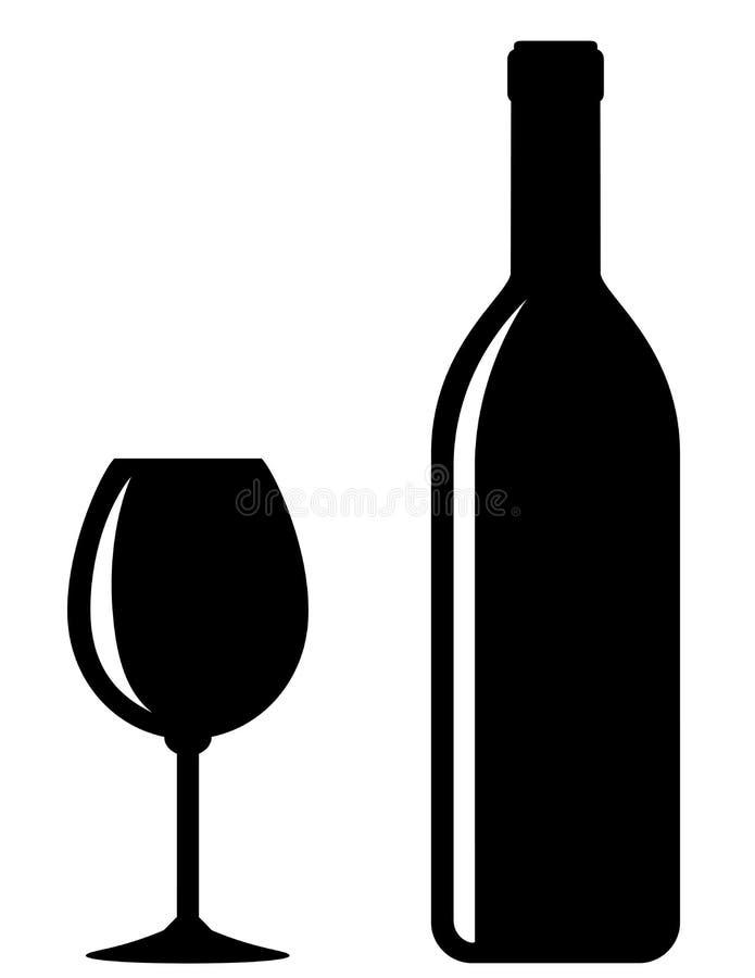 Bouteille de vin noire avec le verre illustration libre de droits