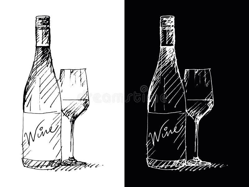 Bouteille de vin - remettez le dessin, vecteur, spontané, énergie, expression photographie stock