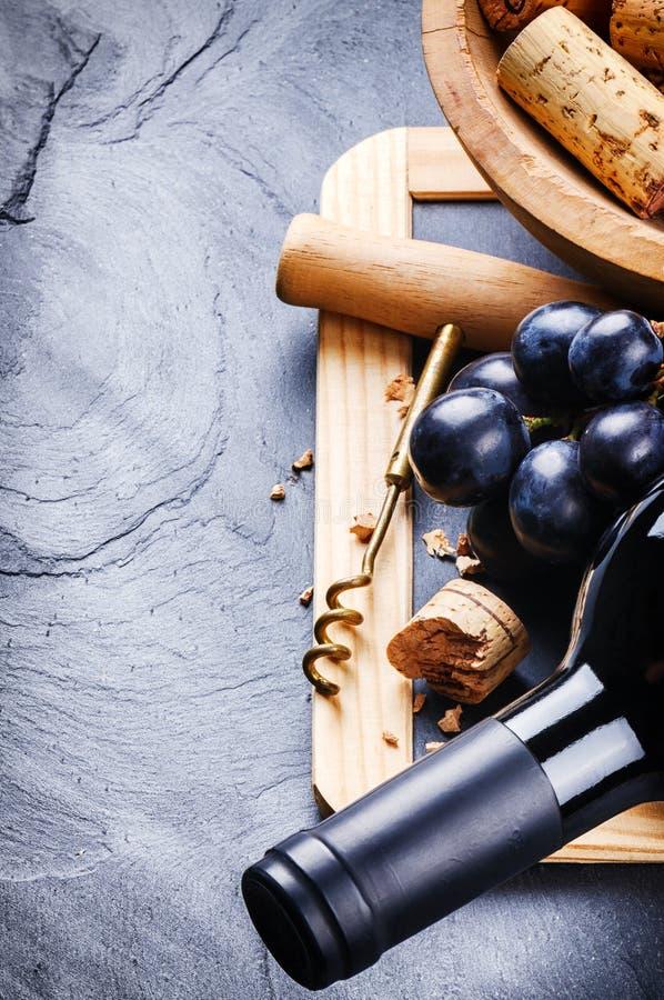Bouteille de vin rouge avec du raisin frais photographie stock