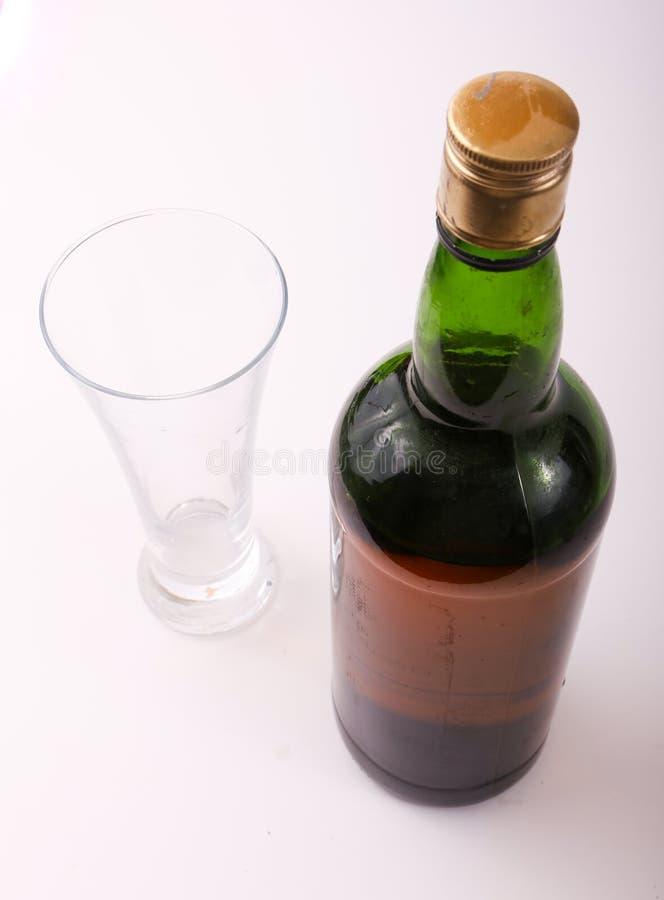 Bouteille de vin rouge avec la glace photographie stock libre de droits