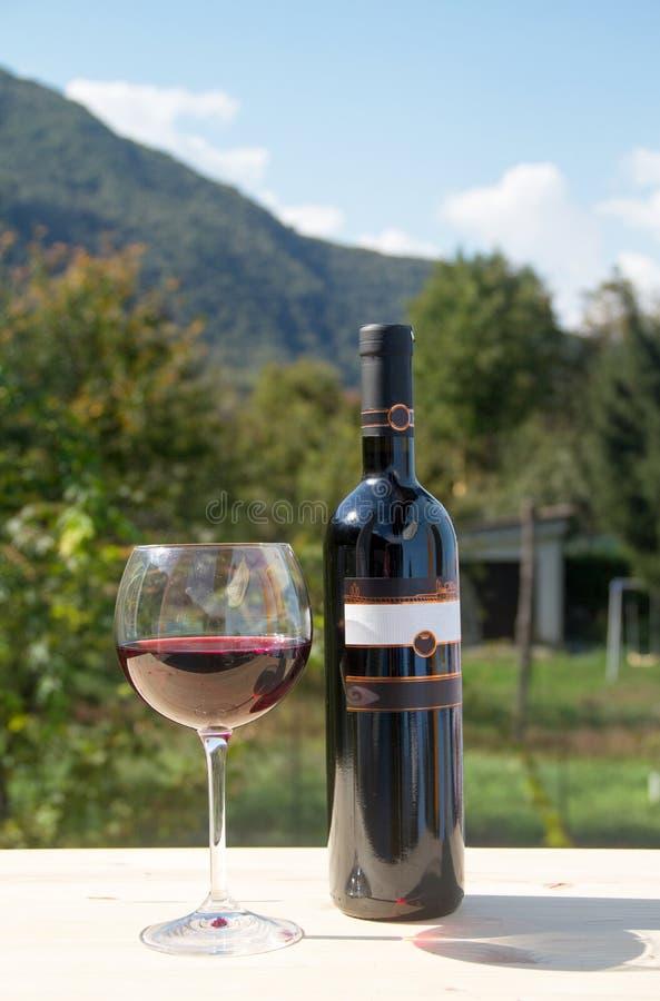 Bouteille de vin rouge avec le verre à vin photo stock