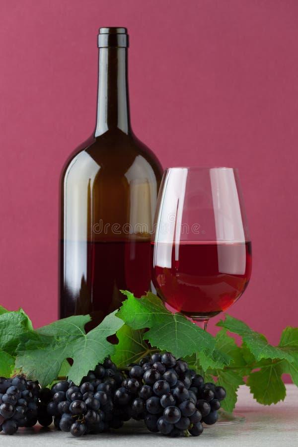 Bouteille de vin rouge avec le verre à vin et les raisins mûrs photo stock