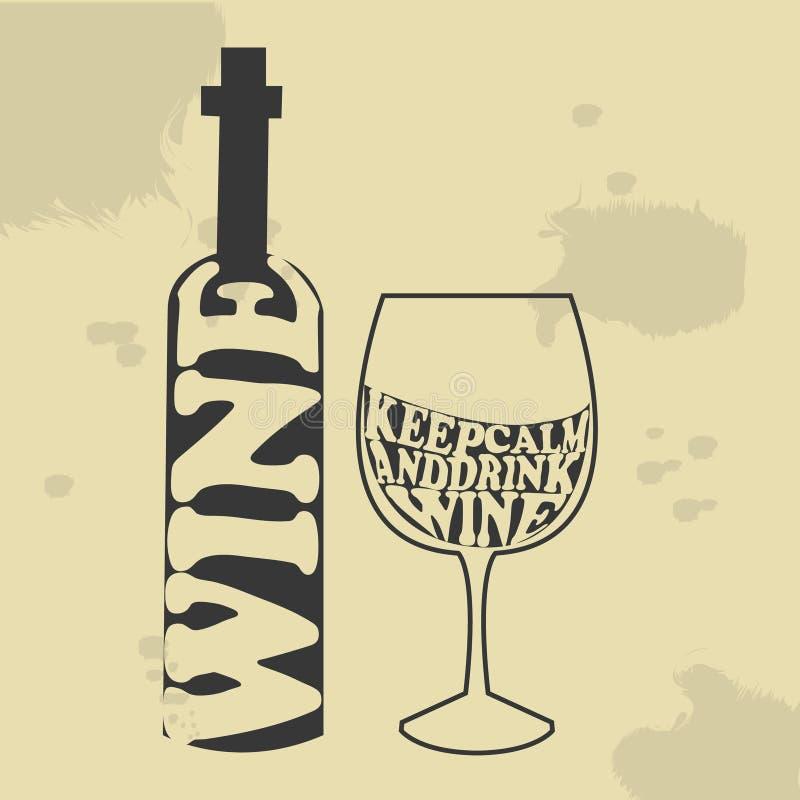 Bouteille Et Verre De Vin Dans Le Style De Typographie