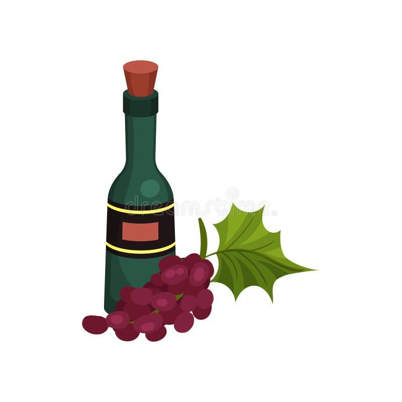 Bouteille de vin verte avec du liège et le label Illustration de vecteur sur le fond blanc illustration libre de droits
