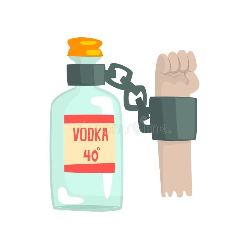 Bouteille de vodka avec des dispositifs d'accrochage, mauvaise habitude, concept d'alcoolisme illustration libre de droits
