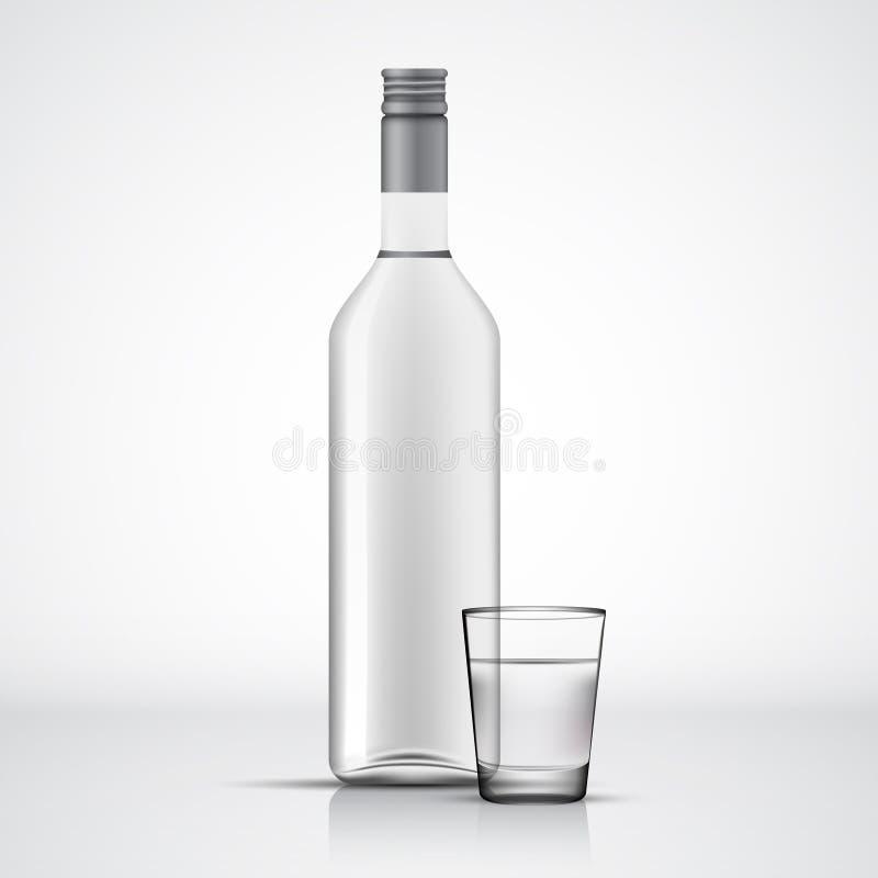 Bouteille de vodka et calibre en verre de tir illustration stock
