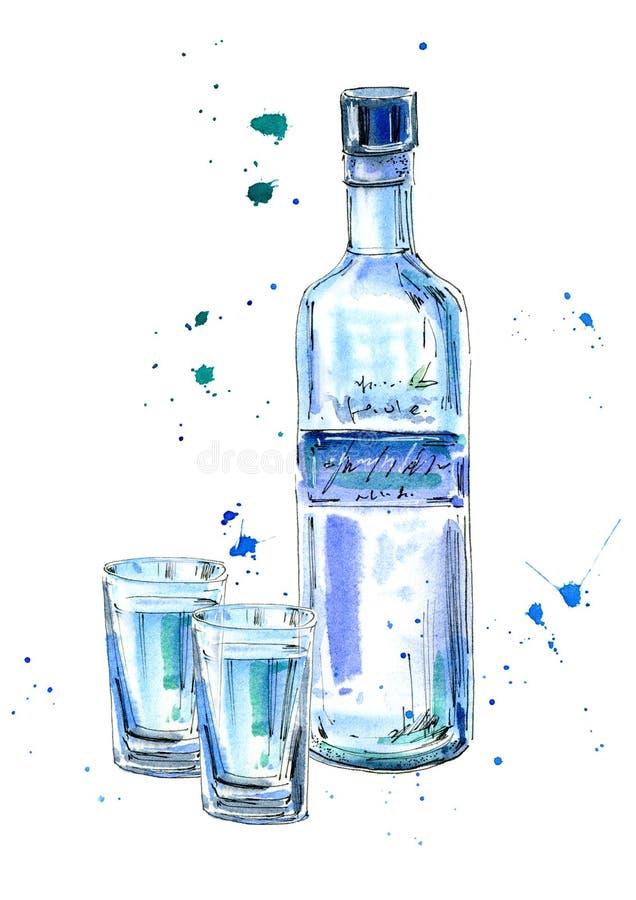 Bouteille de vodka et de verres illustration libre de droits