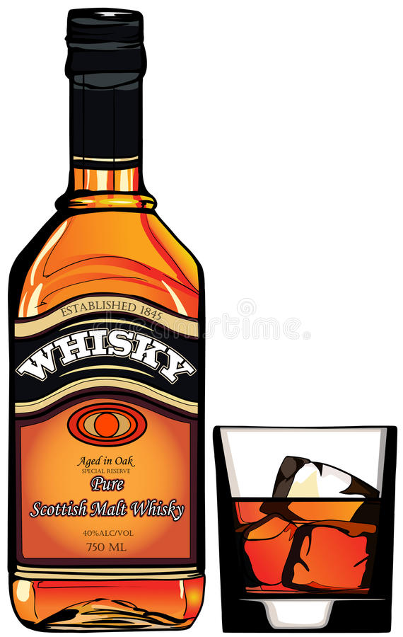 Bouteille de whiskey illustration de vecteur