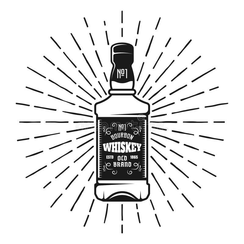 Bouteille de whiskey avec le vecteur de rayons de rayons de soleil illustration libre de droits