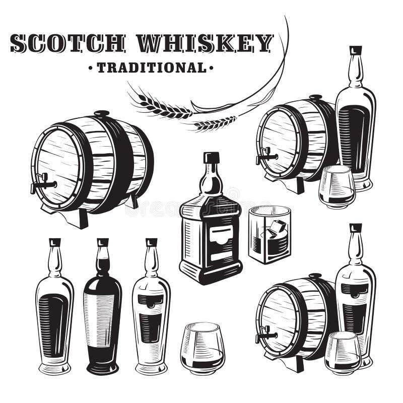 Bouteille de whiskey de croquis et verre et baril illustration de vecteur
