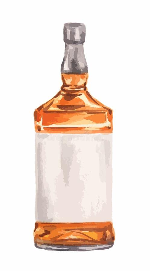 Bouteille de whiskey d'aquarelle illustration de vecteur