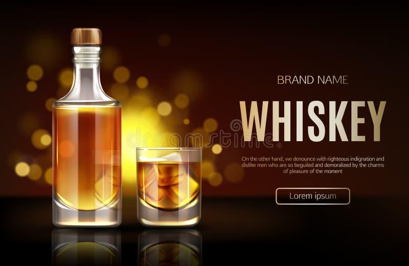 Bouteille de whiskey et bannière en verre d'annonce de promo de maquette, illustration stock