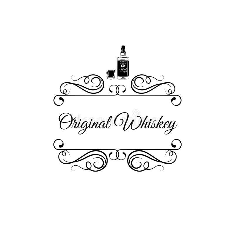 Bouteille de whiskey et glace de projectile Boisson d'alcool Vecteur de vintage Remous, éléments de décoration illustration libre de droits