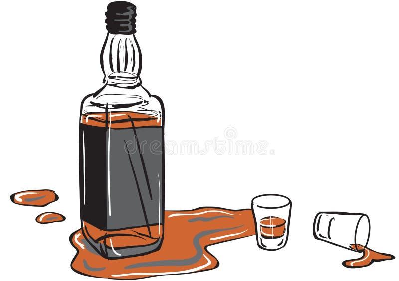 Bouteille de whiskey et glaces de projectile illustration libre de droits