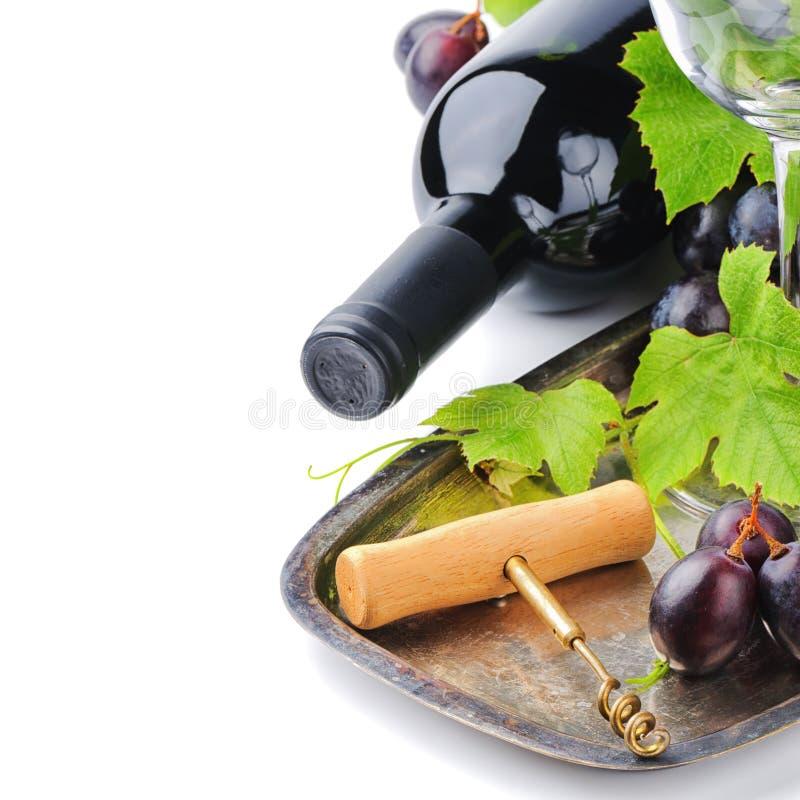 Bouteille du vin rouge et et du raisin frais photo stock