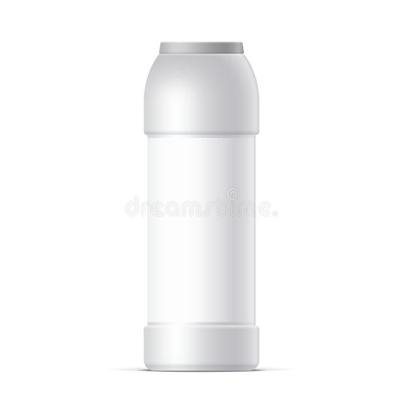 Bouteille en plastique blanche Pour la poudre de nettoyage illustration libre de droits