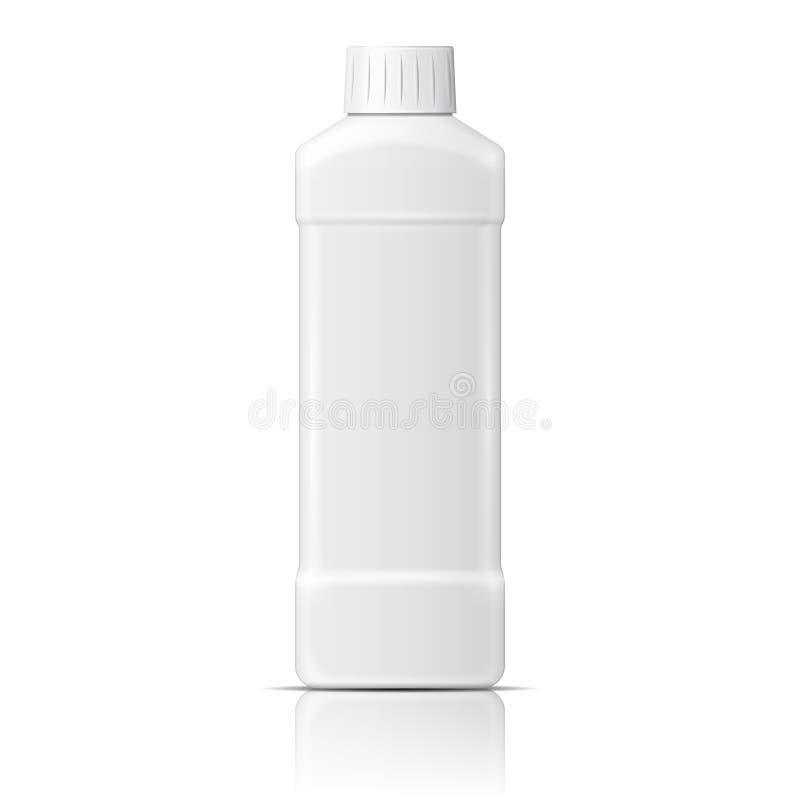 Bouteille en plastique blanche pour le liquide de vaisselle illustration stock