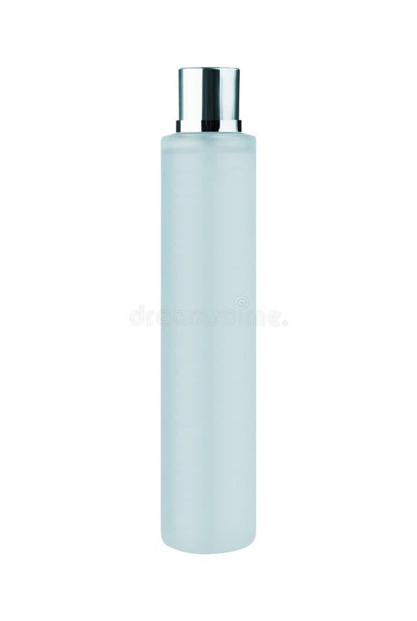 Bouteille en plastique blanche sur le blanc image libre de droits