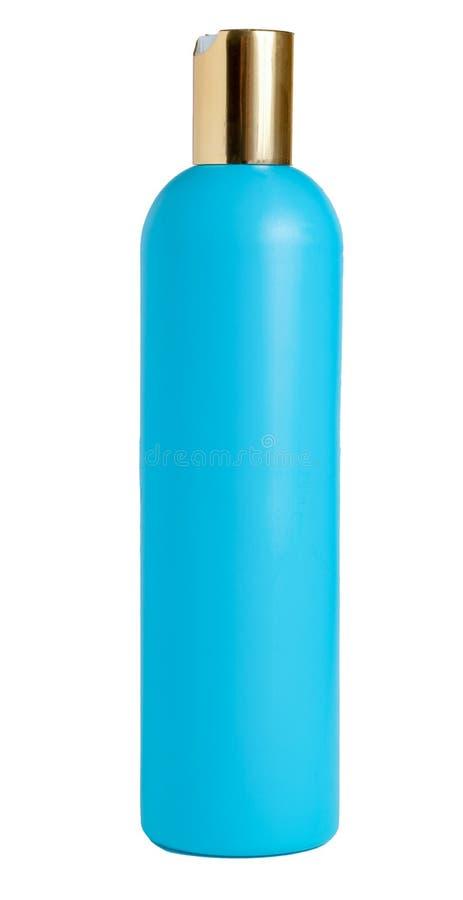 Bouteille en plastique bleue de blanc d'isolement sur le fond blanc Emballage pour le cosmétique, shampooing photo libre de droits