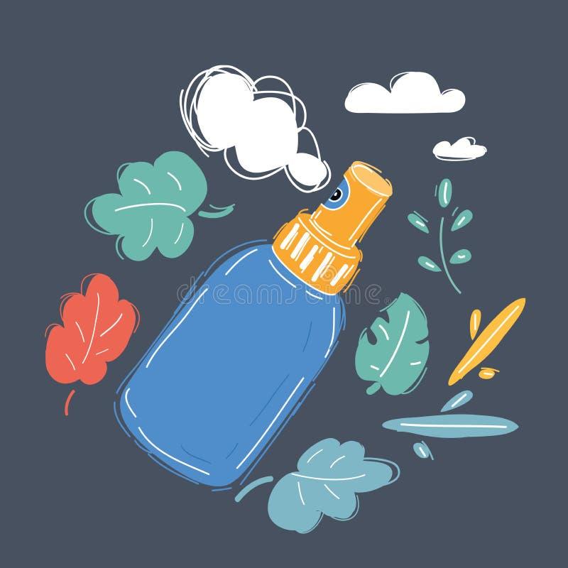 Bouteille en plastique de jet de parfum d'isolement sur le blanc illustration stock