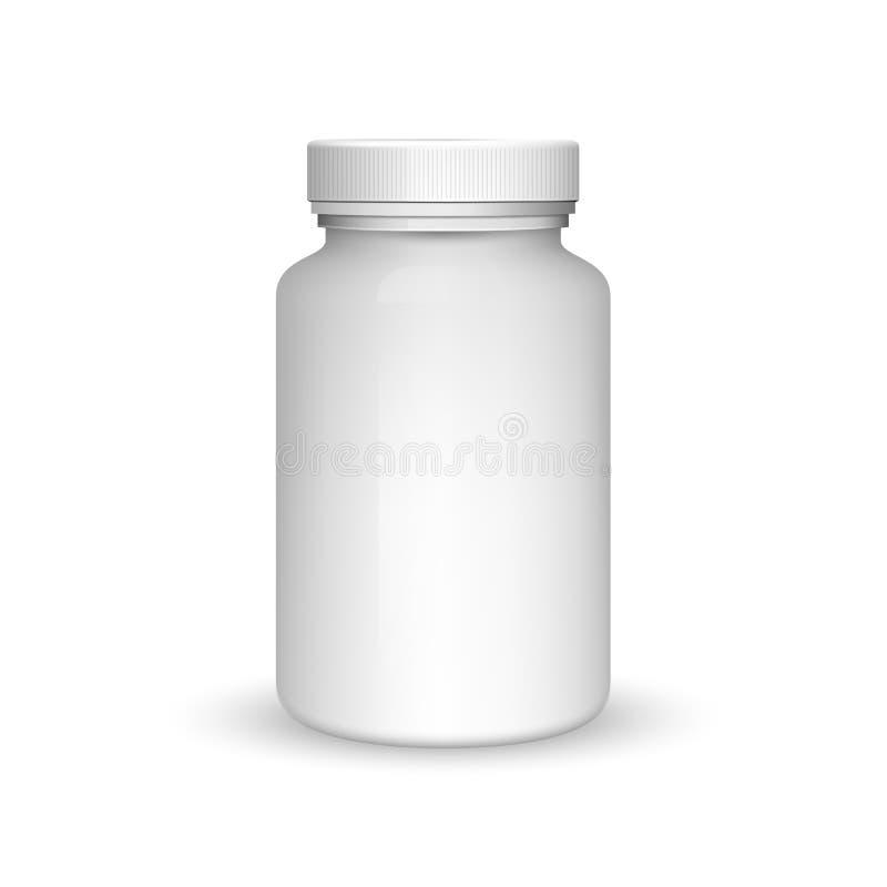 Bouteille en plastique de médecine de blanc réaliste du vecteur 3d illustration stock