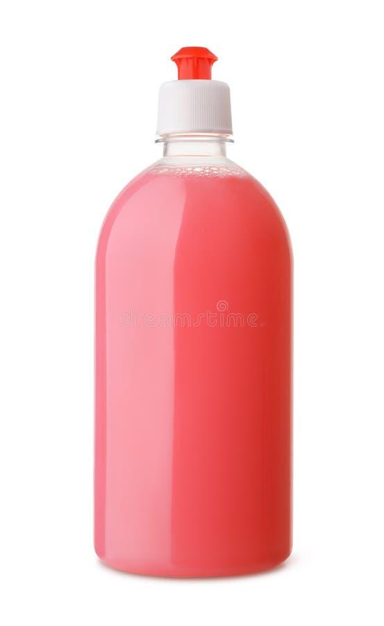Bouteille en plastique de savon liquide rose image stock